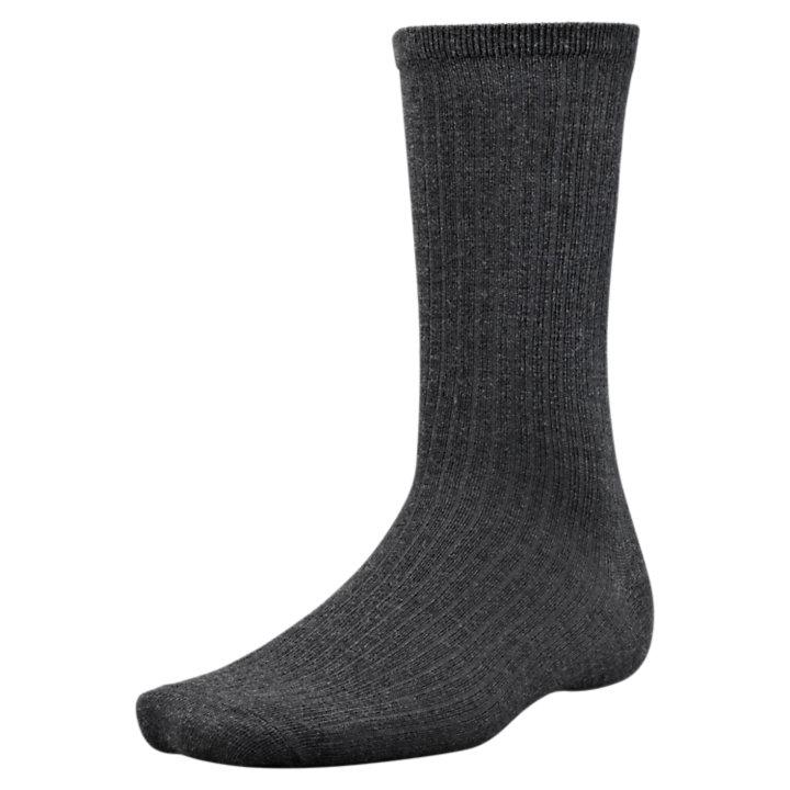 Men's Solid Ribbed Merino Wool Crew Socks-