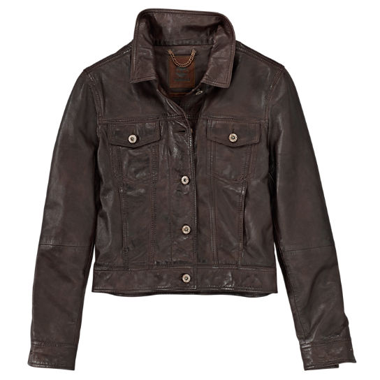 Women's Mt. Tabor Leather Trucker Jacket