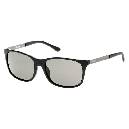 Polarized Plastic/Steel Rectangular Frame Sunglasses