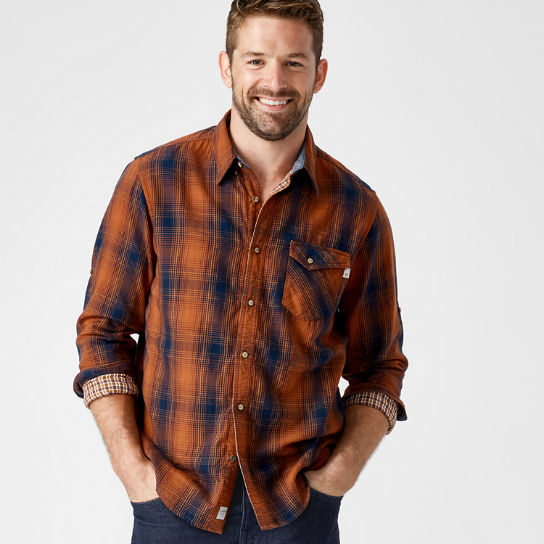 Men's Double-Layer Roll-Tab Plaid Shirt