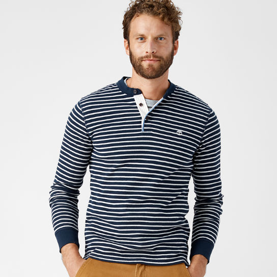 Men's Breton Stripe Slim Fit Henley Shirt