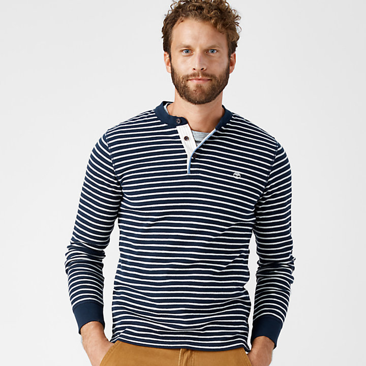 Men's Breton Stripe Slim Fit Henley Shirt-