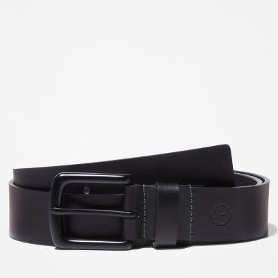 Men's Black-Buckle Leather Belt