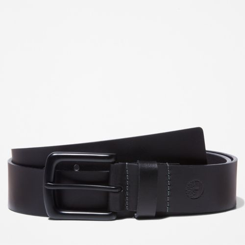 Men's Black-Buckle Leather Belt-