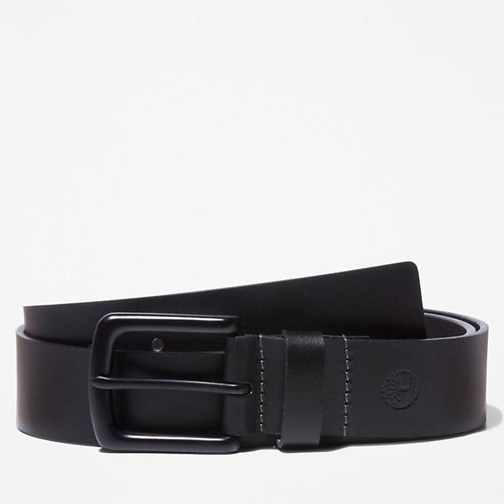 Men's Black-Buckle Buffalo Leather Belt-