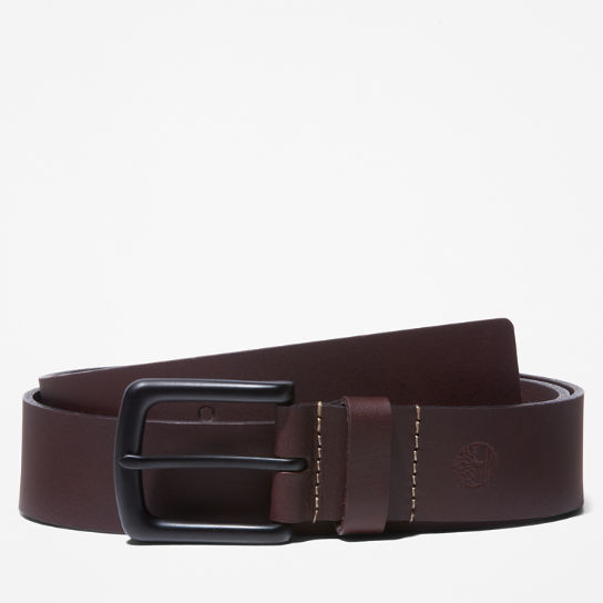 Men's Black-Buckle Buffalo Leather Belt