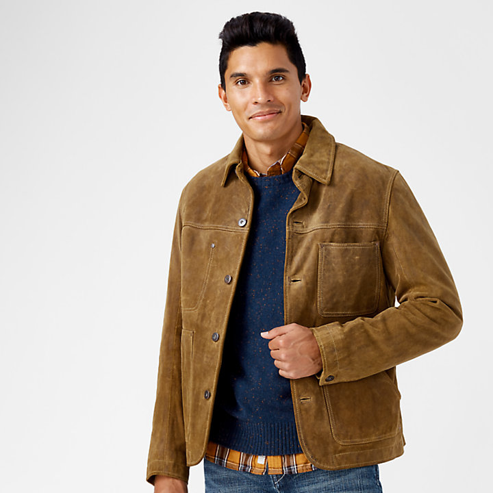 Men's Riveted Leather Welder Jacket-