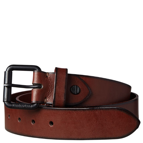 Men's Roller-Buckle Buffalo Leather Belt