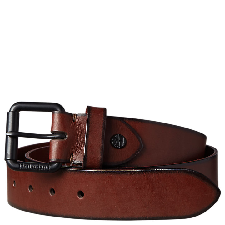 Men's Roller-Buckle Buffalo Leather Belt-
