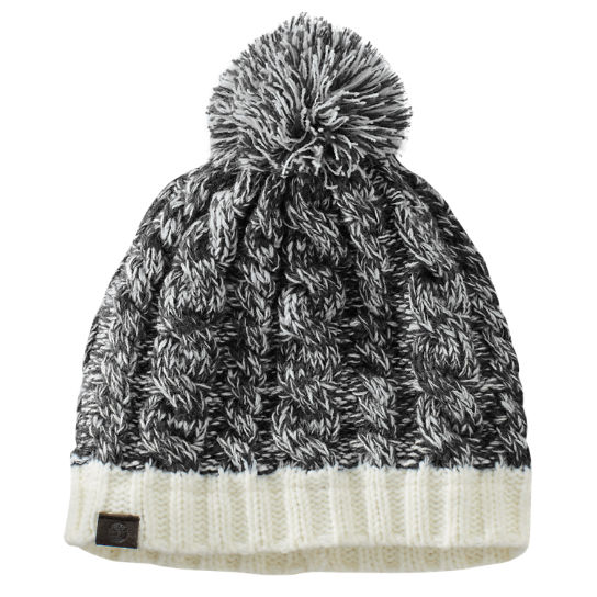 Women's Color Block Cable-Knit Pom Watch Cap