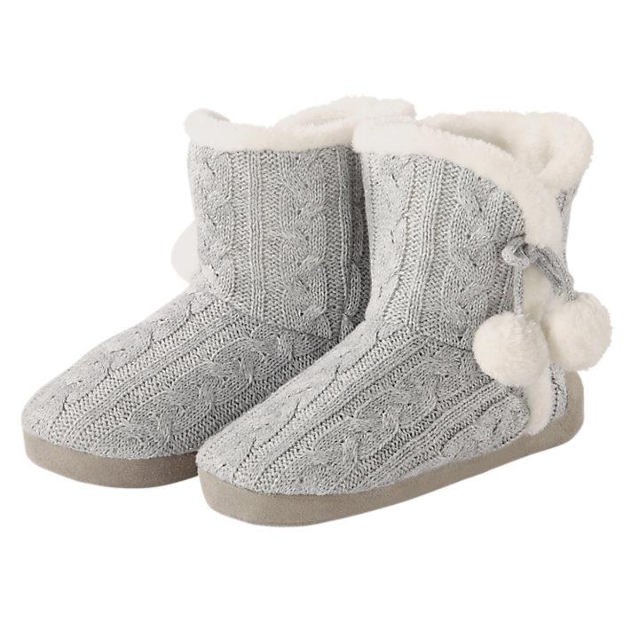 Women's Cable-Knit Slipper Socks-