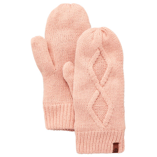 Timberland Womens Fleece Lined Cable Knit Mittens