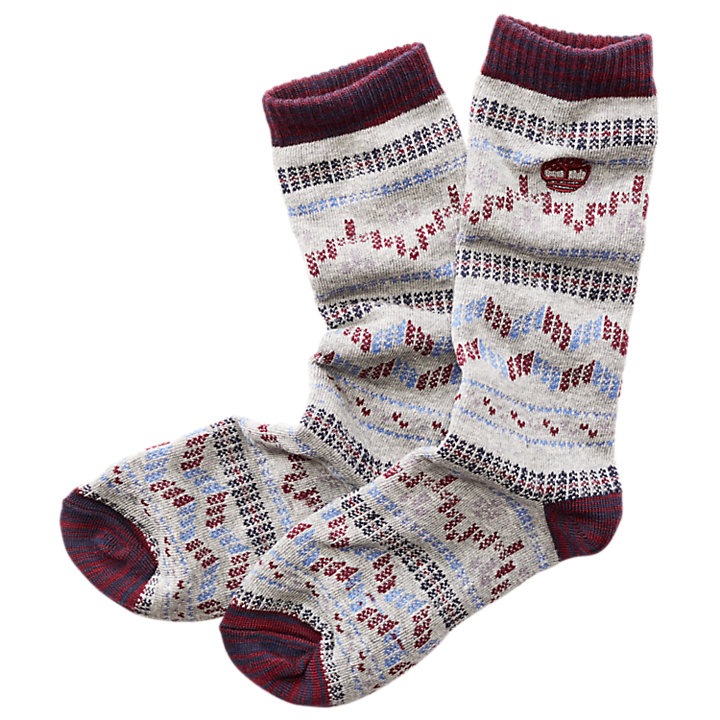 Women's Stitch Pattern Contrast Crew Socks-