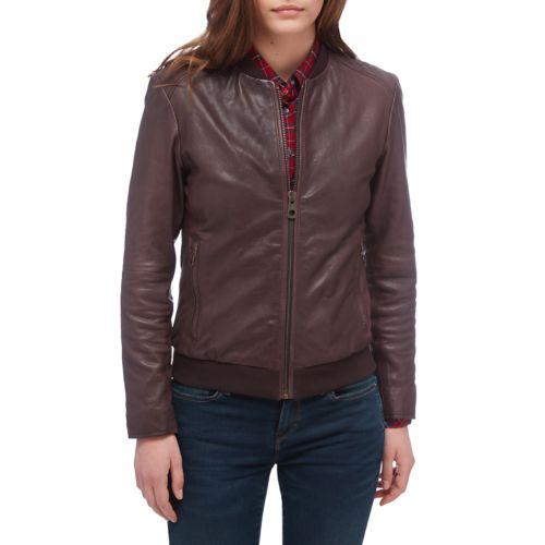 Women's Belknap Leather Bomber Jacket-