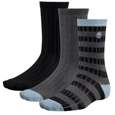 Men's Striped Ribbed Crew Socks (3-Pack)