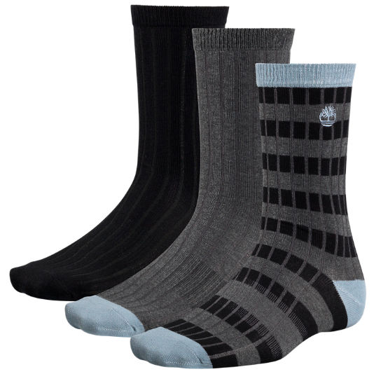 Men's Striped Ribbed Crew Socks (3-Pack)