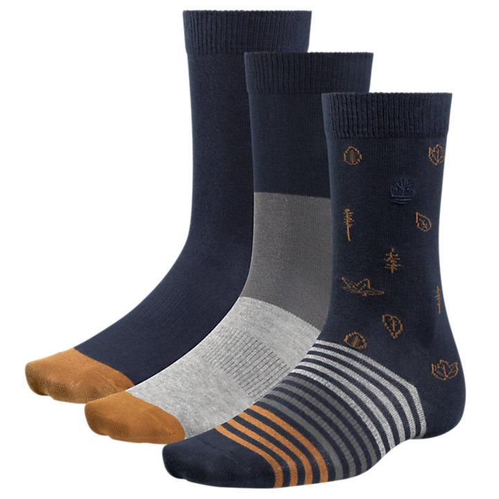 Men's Leaf Pattern Crew Socks (3-Pack)-