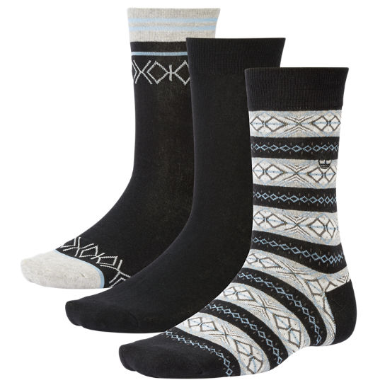 Men's Geometric Intarsia Crew Socks (3-Pack)
