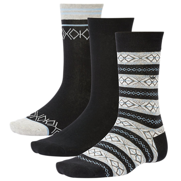 Men's Geometric Intarsia Crew Socks (3-Pack)-