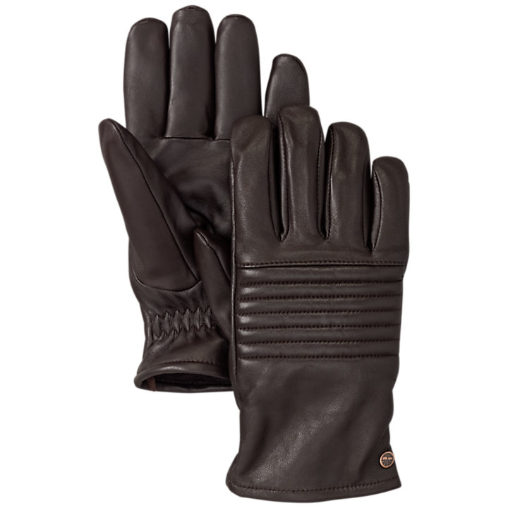Men's Ribbed Touchscreen Leather Gloves-