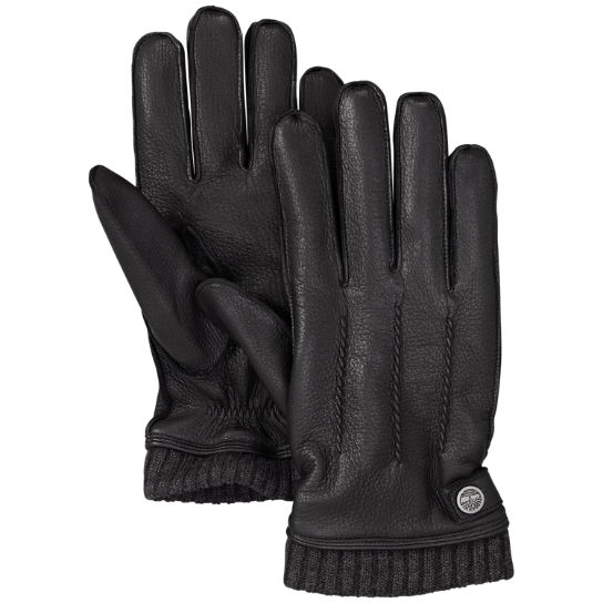 Men's Sweater Cuff Leather Gloves