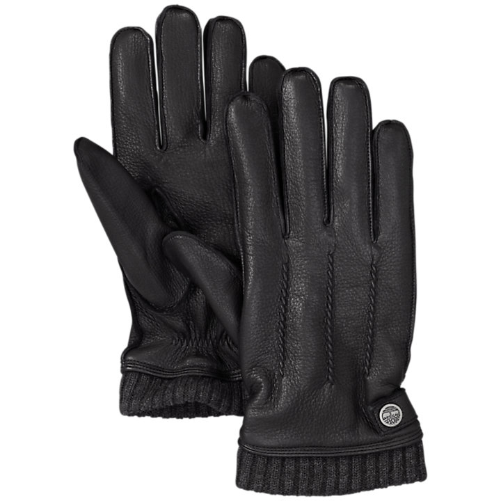 Men's Sweater Cuff Leather Gloves-