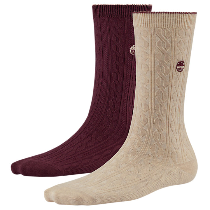 Women's Lightweight Cable Knit Crew Socks (2-Pack)-