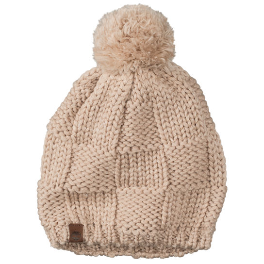 Women's Basketweave Pom Beanie