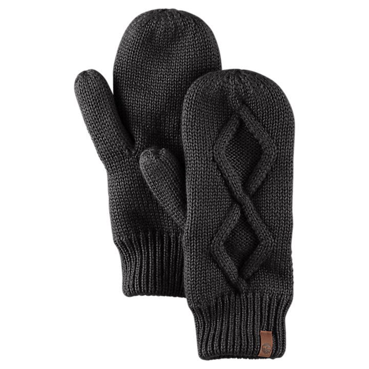 Women's Fleece-Lined Cable-Knit Mittens-
