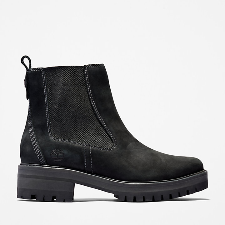 Courmayeur Valley black leather chelsea pull on ankle boots