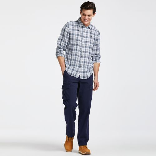 Men's Mill River Slim Fit Linen Check Shirt-