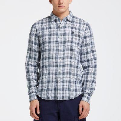 Men's Mill River Slim Fit Linen Check Shirt