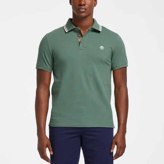 Men's Slim Fit Camo-Tipped Pique Polo Shirt
