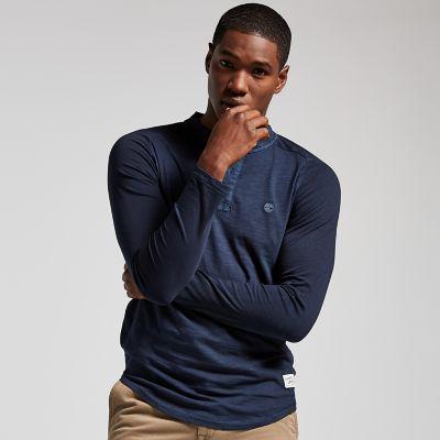 Men's Slim Fit Washed Henley Shirt