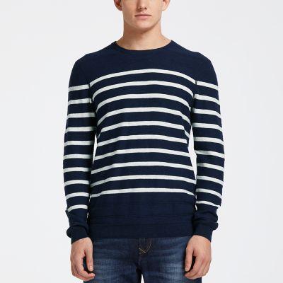 Men's Lightweight Striped Crew Neck Sweater