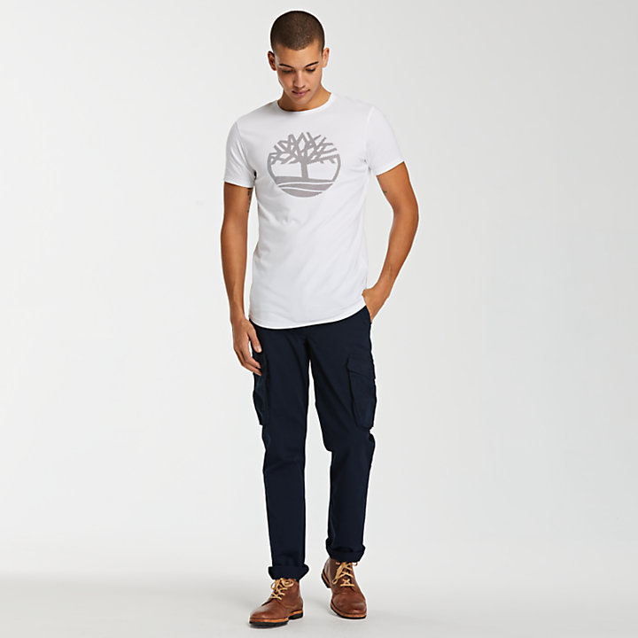 Men's Slim Fit Divided Tree Logo T-Shirt-