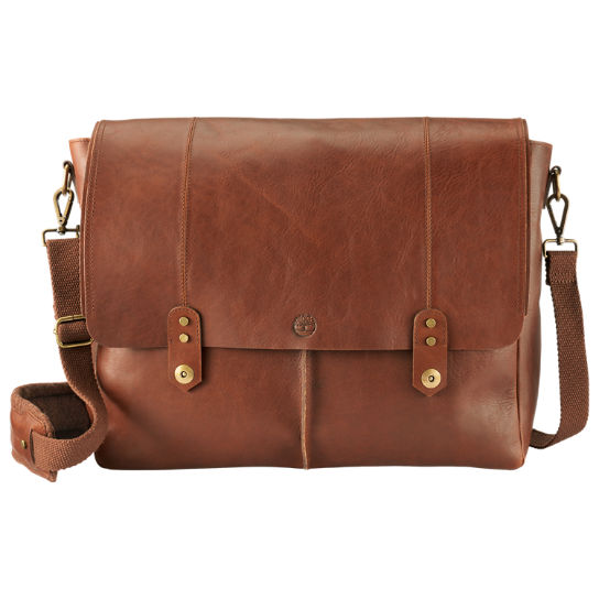 Walnut Hill Water-Resistant Leather Messenger Bag