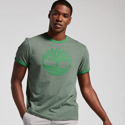 Men's Crackle Tree Logo Ringer T-Shirt