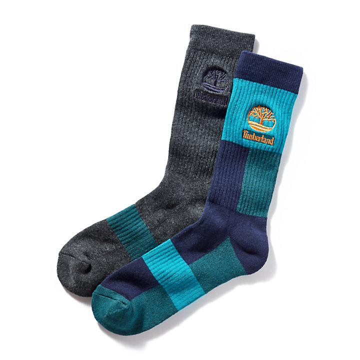 Men's 2-Pack Color-Block Ribbed Crew Socks-