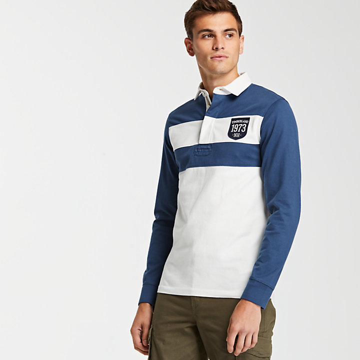 Men's Slim Fit Color Block Rugby Shirt-
