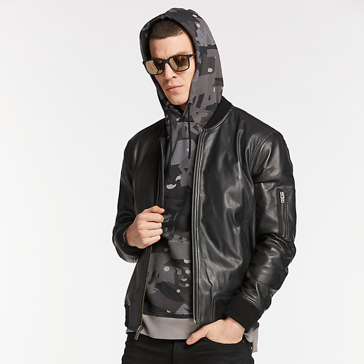 Men's Classic Leather Bomber Jacket-