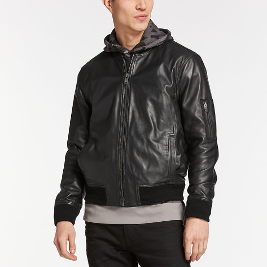 Men's Classic Leather Bomber Jacket