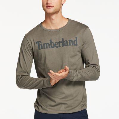 Men's Long Sleeve Linear Logo Ringer T-Shirt
