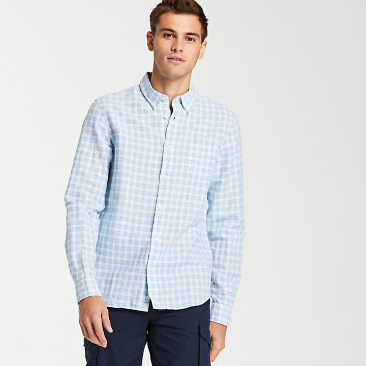 Men's Linen Blend Check Shirt-