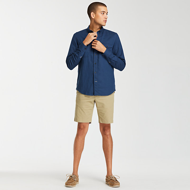Men's Mill River Slim Fit Linen Cargo Shirt-