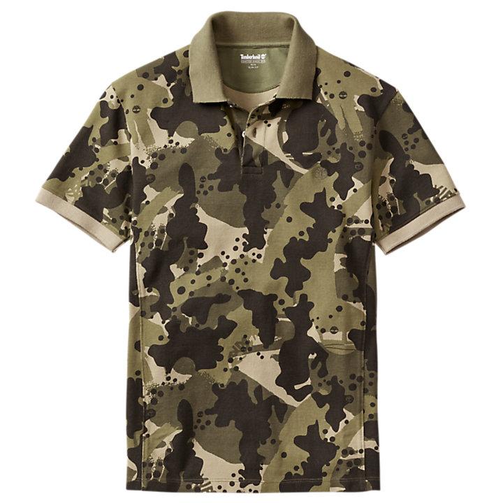 Men's Slim Fit Camo Pique Polo Shirt-