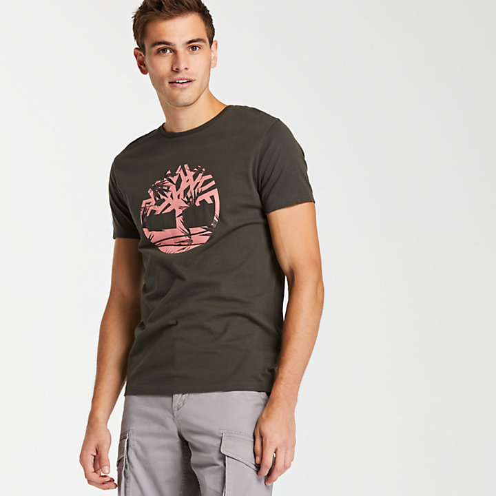 Men's Slim Fit Tropical Logo T-Shirt-