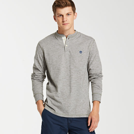 Men's Long Sleeve Heathered Henley Shirt