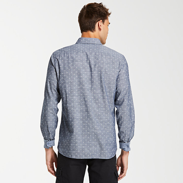 Men's Slim Fit Print Chambray Shirt-