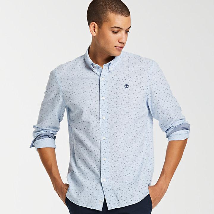 Men's Slim Fit Print Chambray Shirt-
